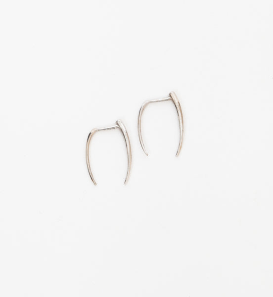 White Gold Infinite Tusk Earrings