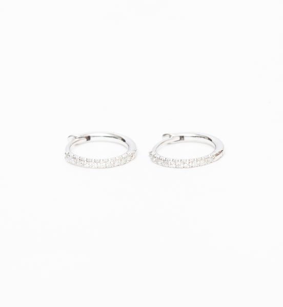 White Gold Pavé Diamond Huggie Hoops