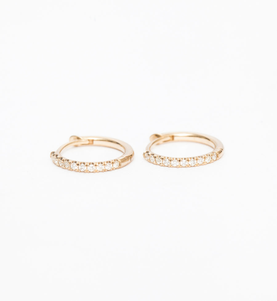 Gold Pavé Diamond Huggie Hoops