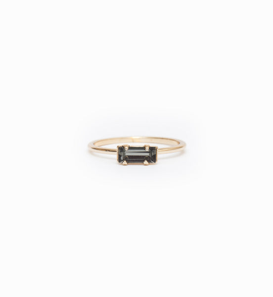 Gold/Grey Tiny Baguette Ring: Front