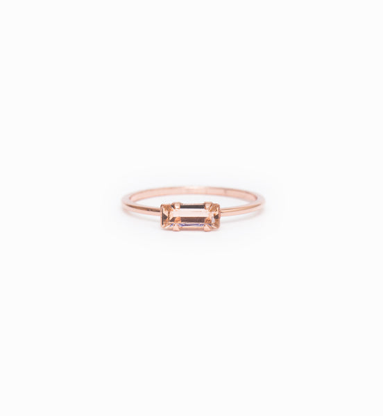 Rose Gold/Peach Tiny Baguette Ring: Front