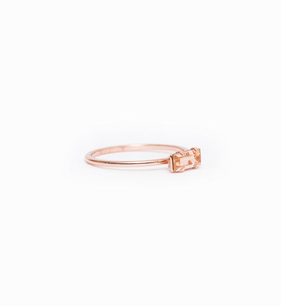 Rose Gold/Peach Tiny Baguette Ring: Angle