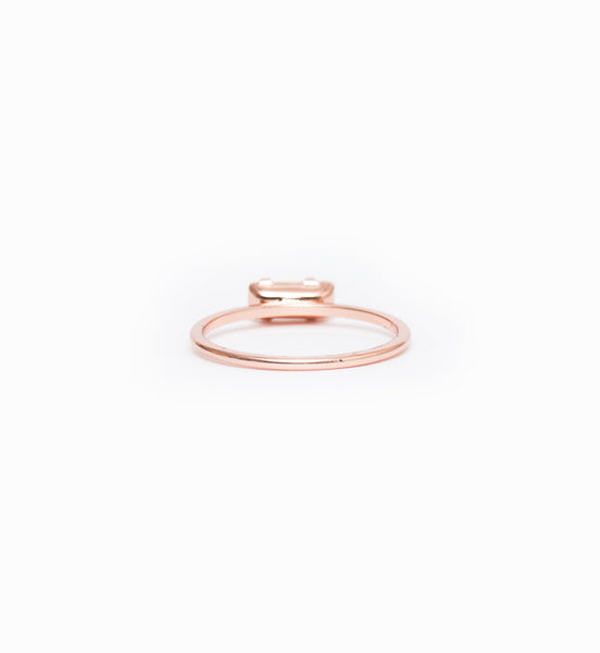Rose Gold/Peach Tiny Baguette Ring: Back