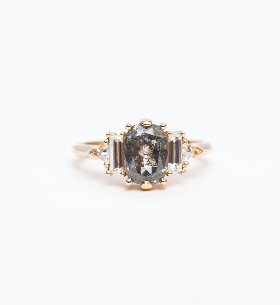 Salt & Pepper Cushion Diamond Theda Ring