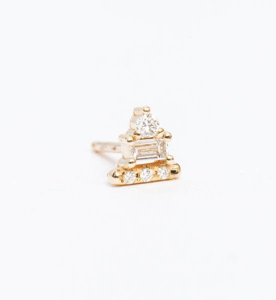 Diamond Baguette Bar Stud