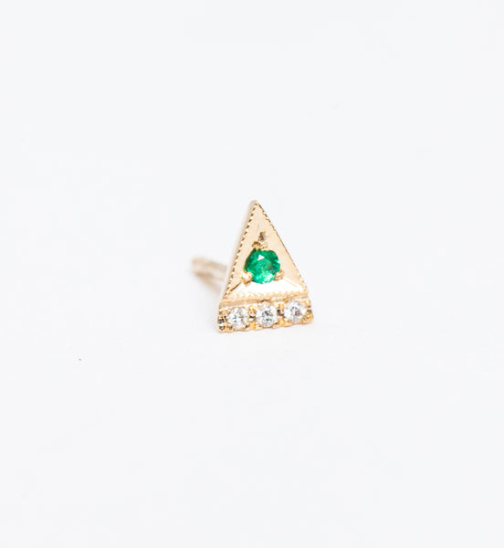 Emerald Deco Point Triangle Stud