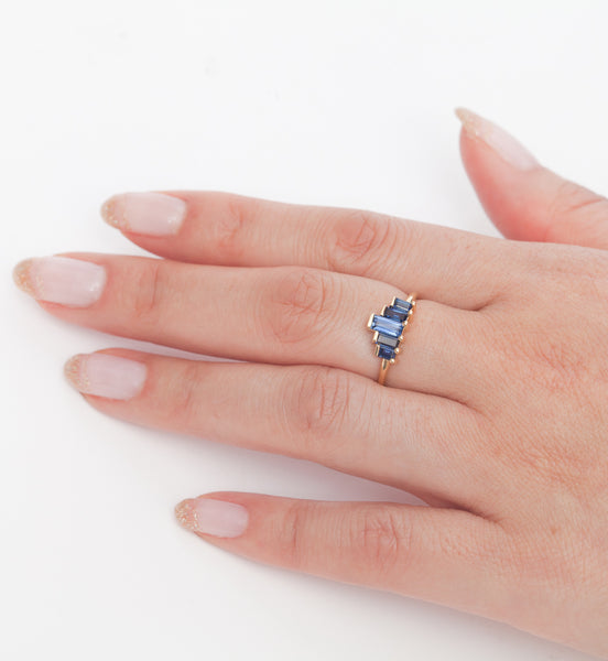 Five Baguette Sapphire Ring