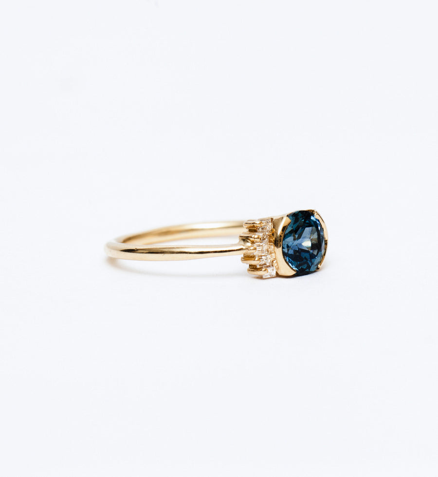 Limited Edition Teal Sapphire Ring with Baguette Diamond Wings