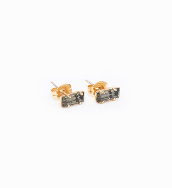 Gold/Grey Tiny Baguette Studs