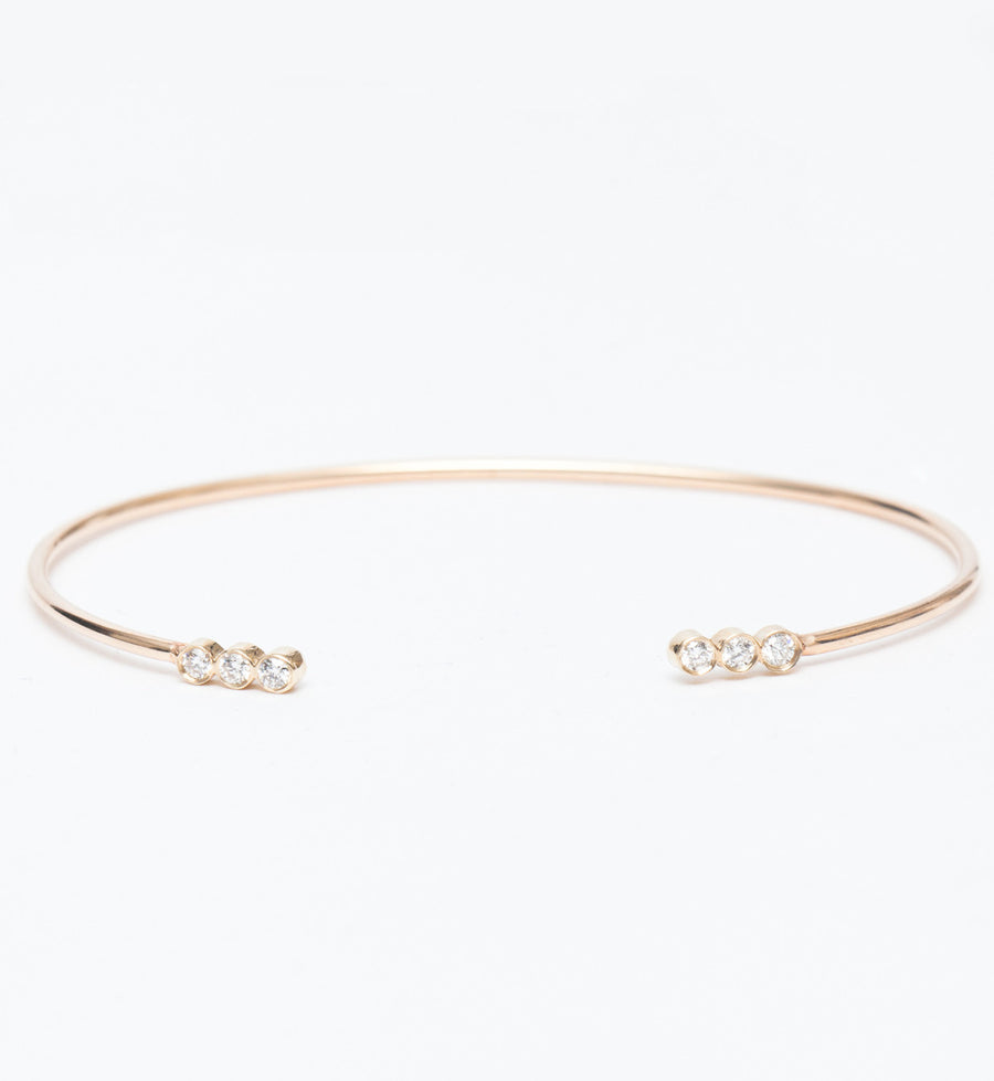 Three Diamond Line Open Cuff