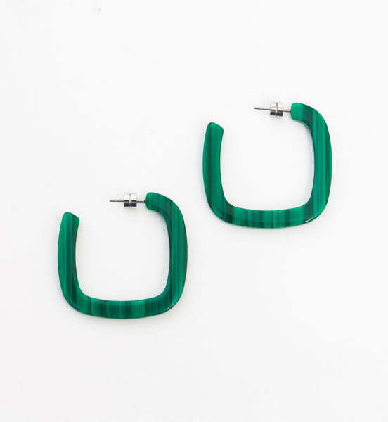 Malachite Midi Square Hoops