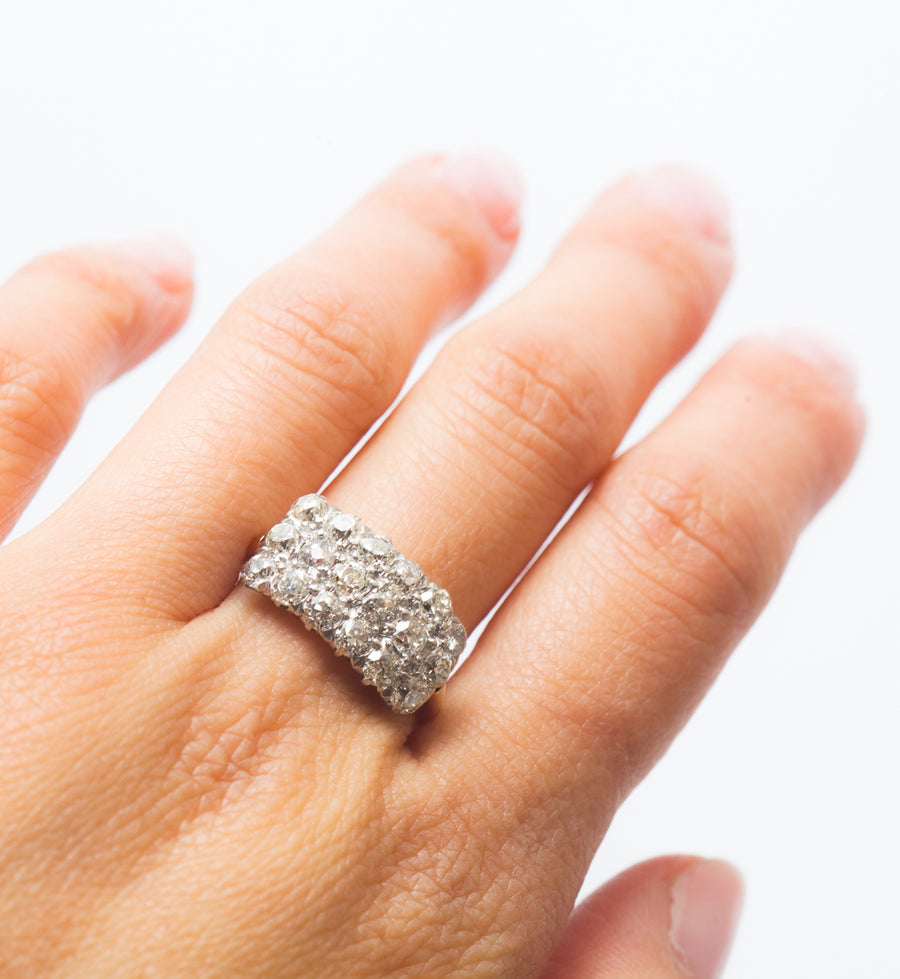 Triple Row Old Mine Diamond Ring