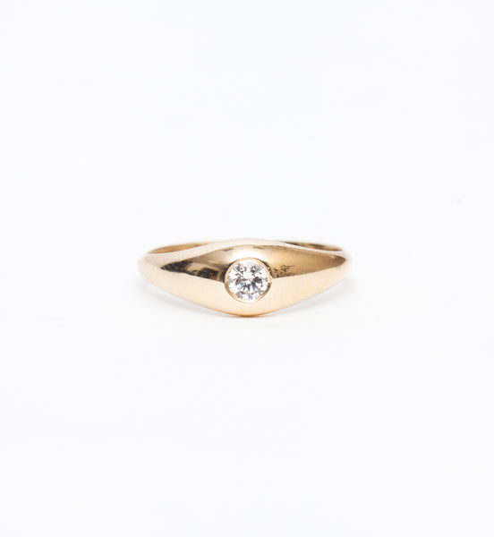 Diamond Demi Signet Ring
