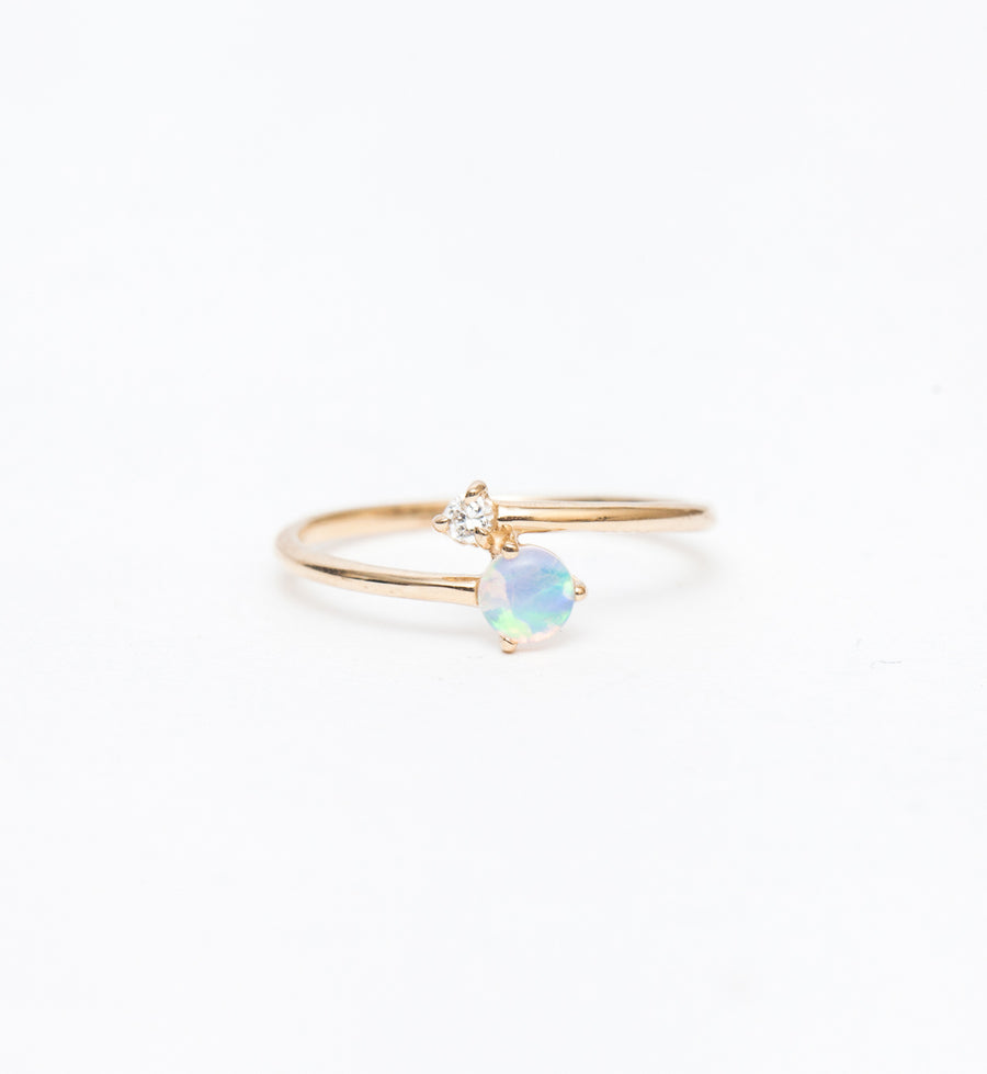 Opal and Diamond Crossover Ring