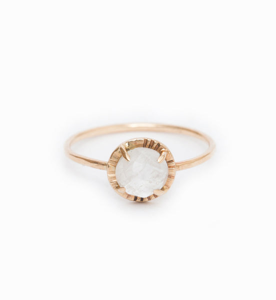 Moonstone Alba Etruscan Ring: Front