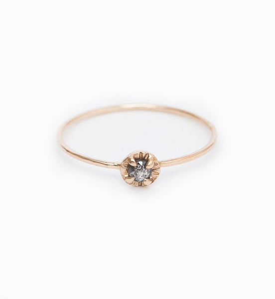Grey Diamond Mini Etruscan Ring: Front