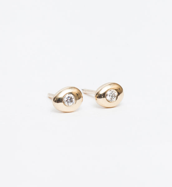 White Diamond Pebble Studs
