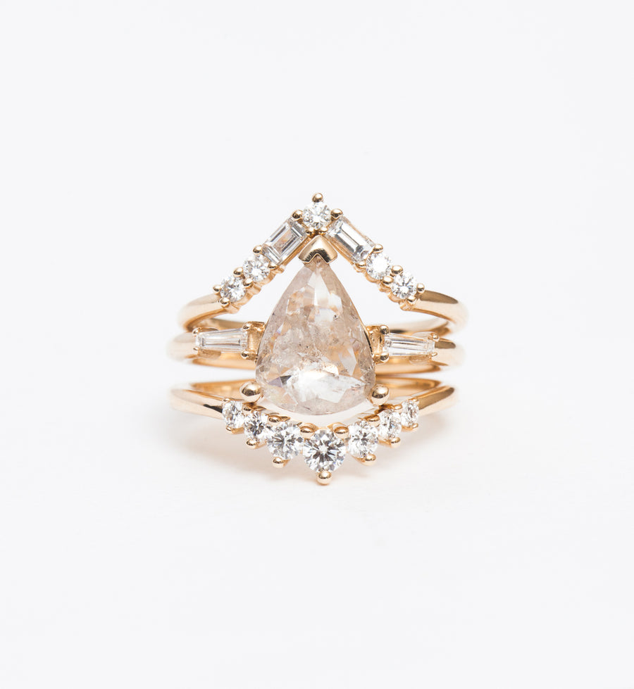 Icy Rose-Cut Pear Three-Stone Ring