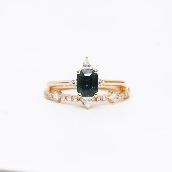 Blue-Green Sapphire Felicity Ring