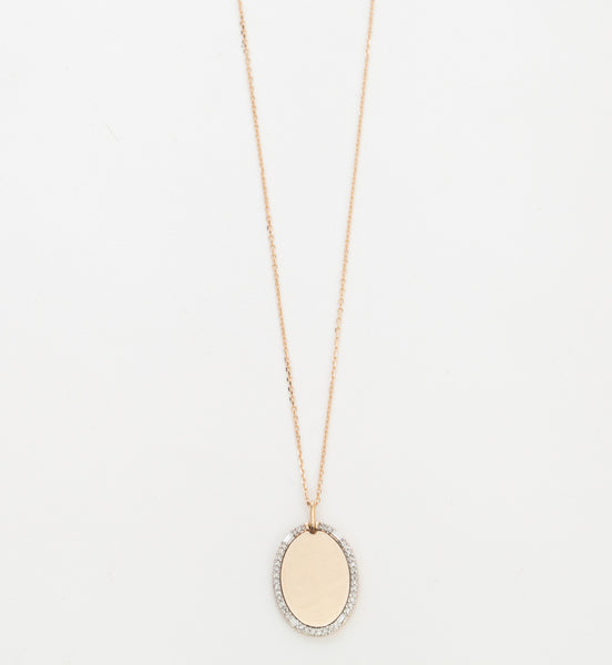 Oval Pavé & Baguette Dog Tag Necklace