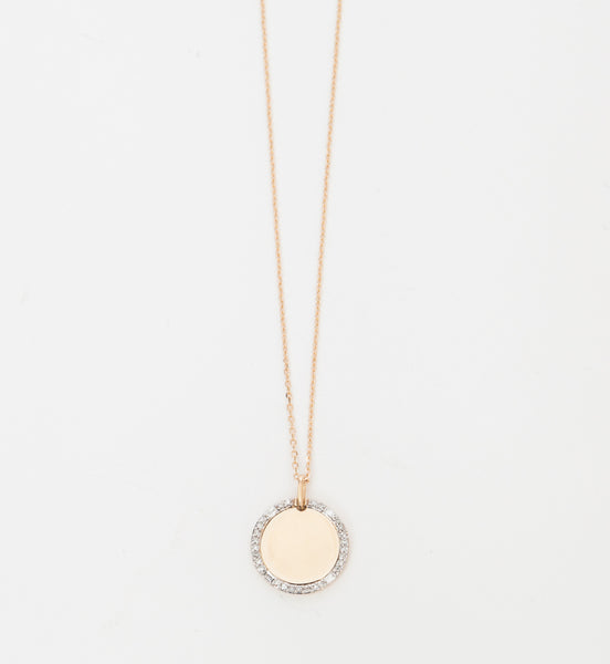 Round Pavé & Baguette Dog Tag Necklace