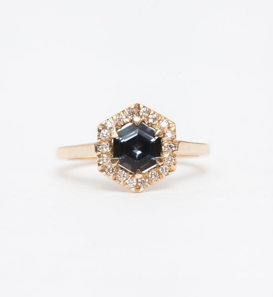 Grey Spinel Hex Engagement Ring