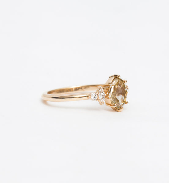 Geometric Champagne Diamond Desi Ring