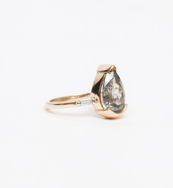 Double-Cut Salt & Pepper Pear Diamond Ring