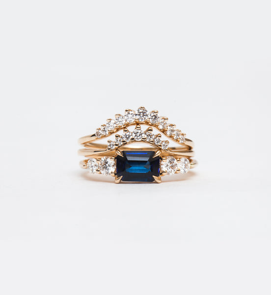 Large Sapphire Five Stone Bea Ring