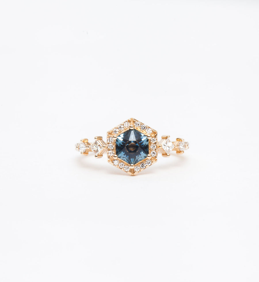 Hexagon Sapphire Camille Halo Ring