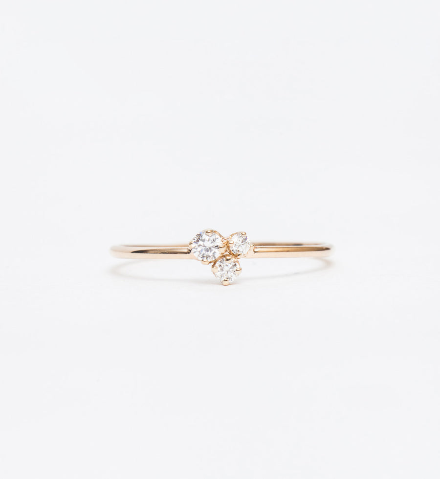 Three Mixed Diamond Prong Trio Ring