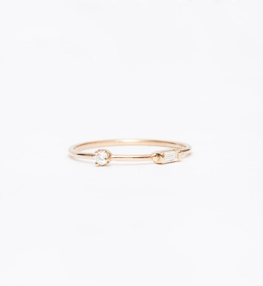 Spaced Baguette and Round Diamond Ring