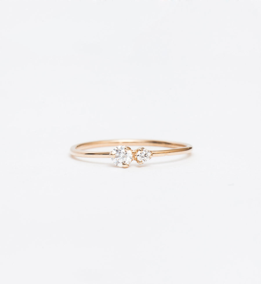 Double Prong Diamond Ring