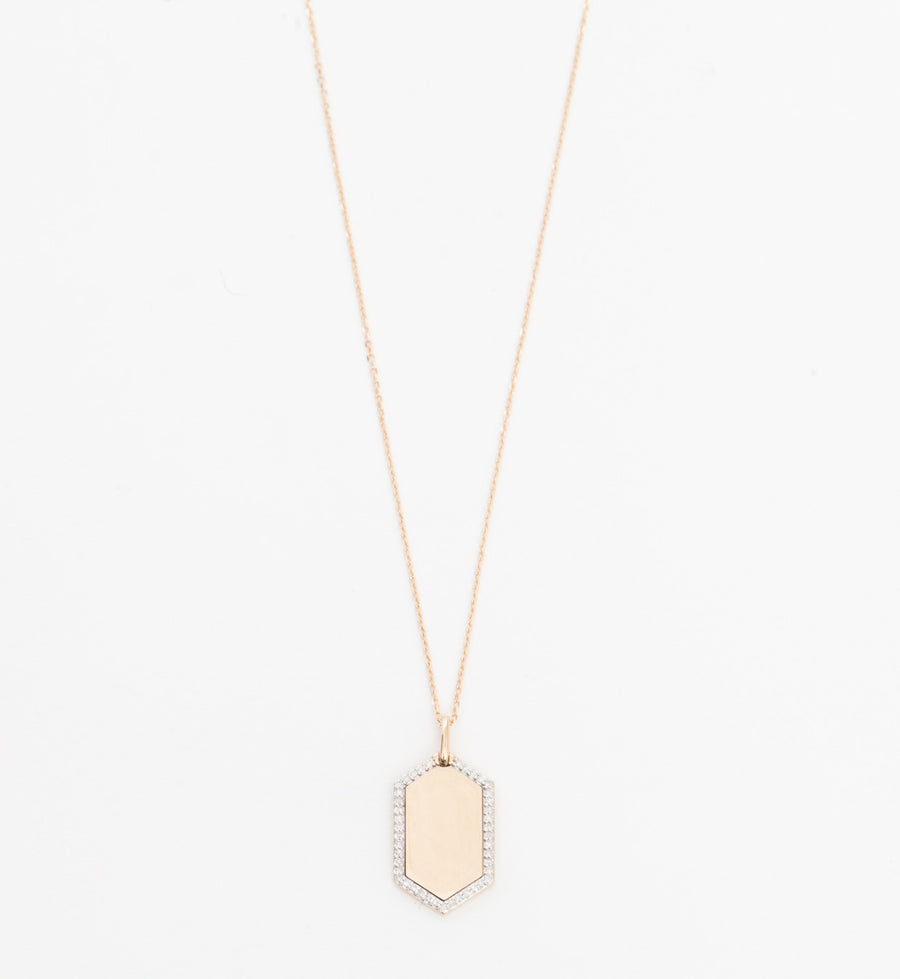 Pavé Hexagon Dog Tag Necklace