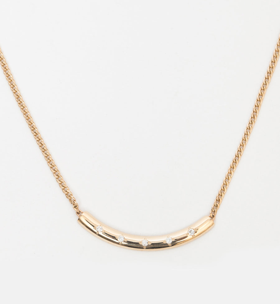 Extra Small Curb Chain with Diamond Curved Chubby Bar Necklace