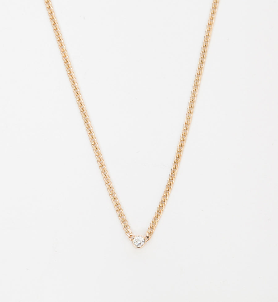 Extra Small Curb Chain Bezel Diamond Necklace