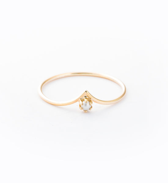 Pearled Drop Ring: Front