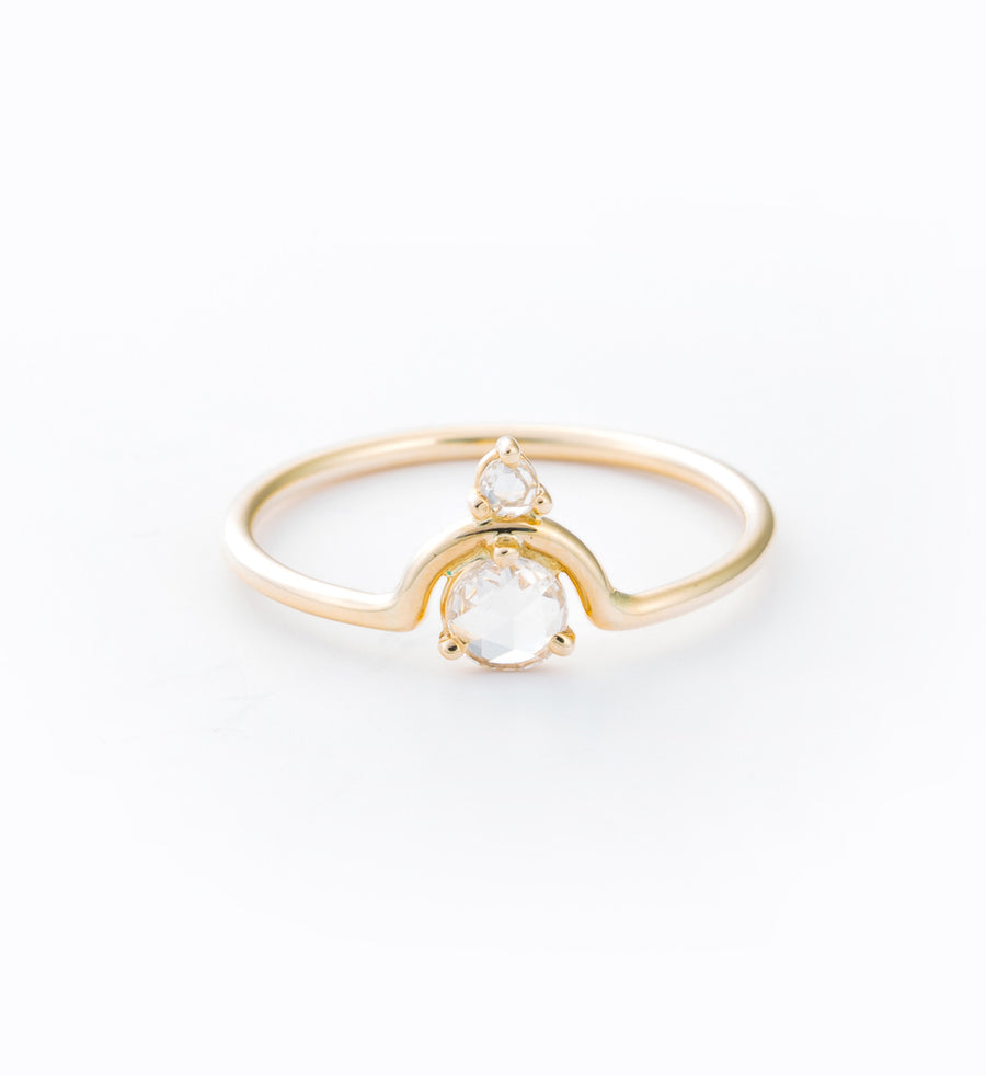 Nestled Rose Cut Diamond Ring: Front