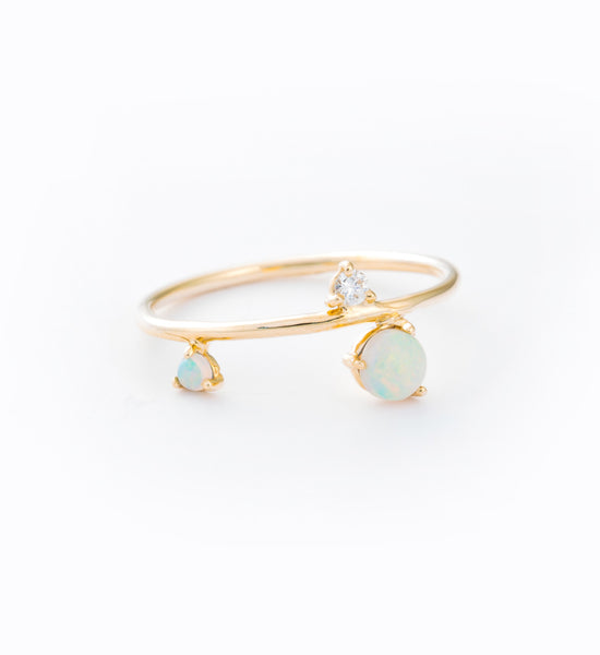Three-Step Opal & Diamond Ring: Front