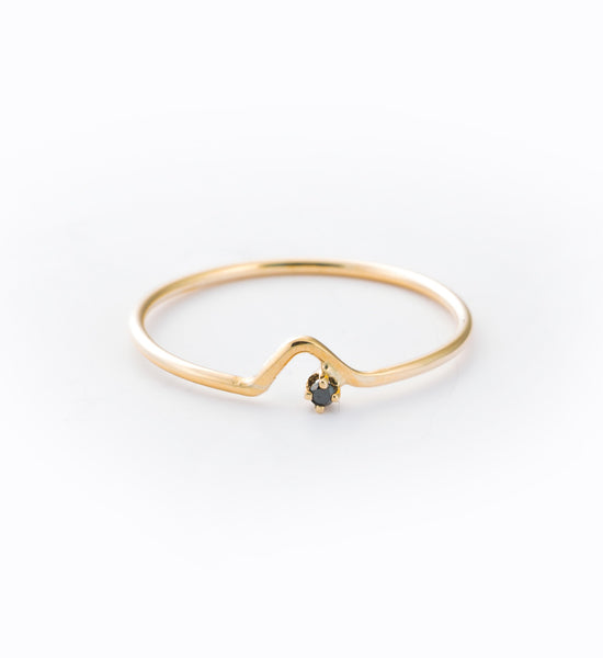 Black Diamond Triangle Lineage Ring: Front