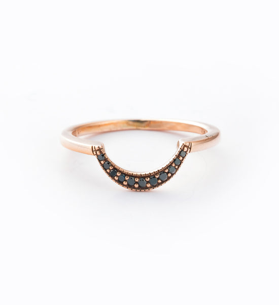 Rose Gold/Black Diamond Crescent Ring: Front