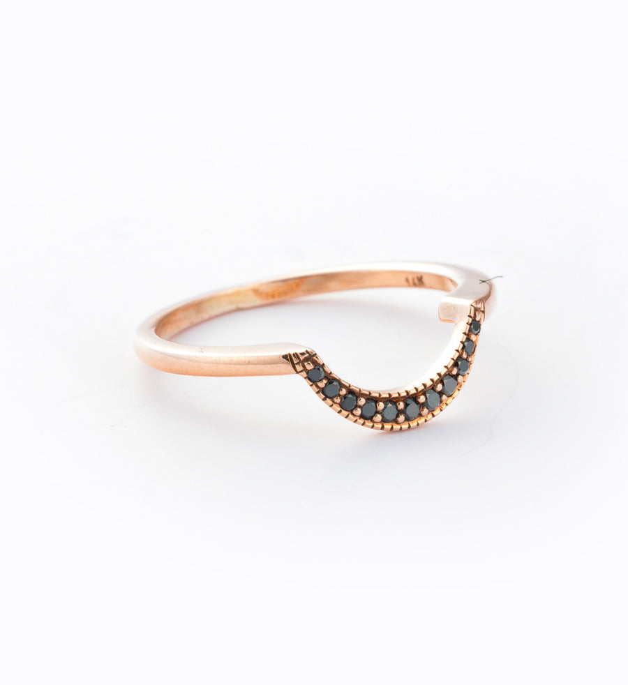 Rose Gold/Black Diamond Crescent Ring: Angle