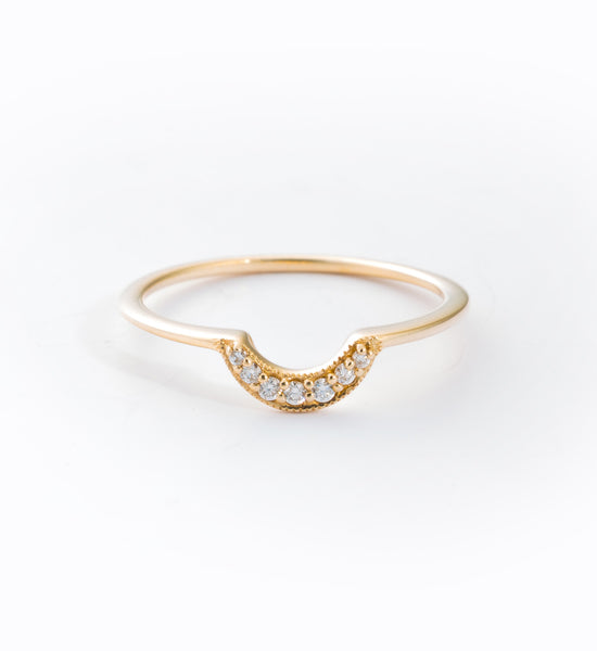 Gold Tiny Crescent Ring: Front