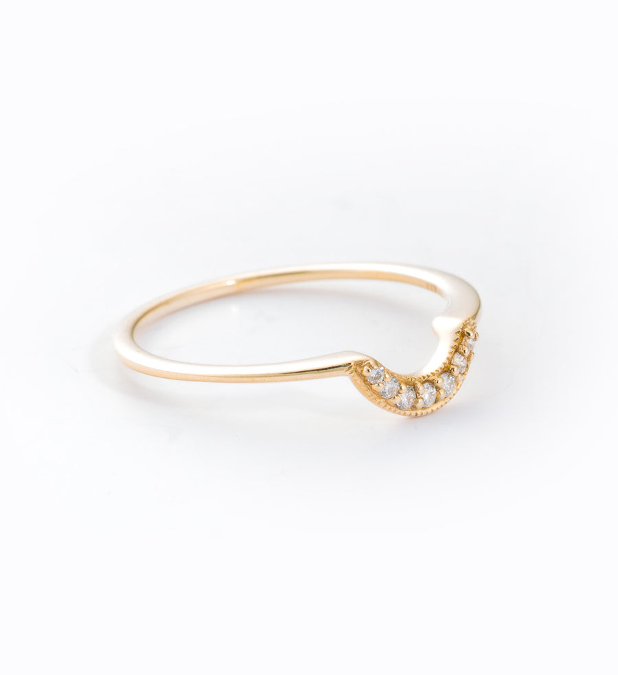 Gold Tiny Crescent Ring: Angle