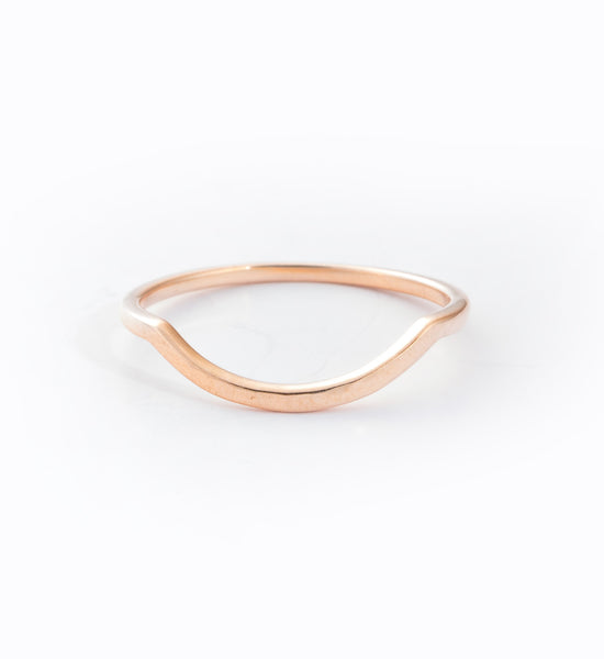Rose Gold Hammered Delicate Curve Band: Front