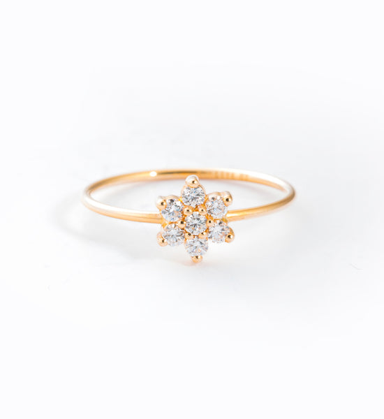 Single Diamond Star Ring: Front