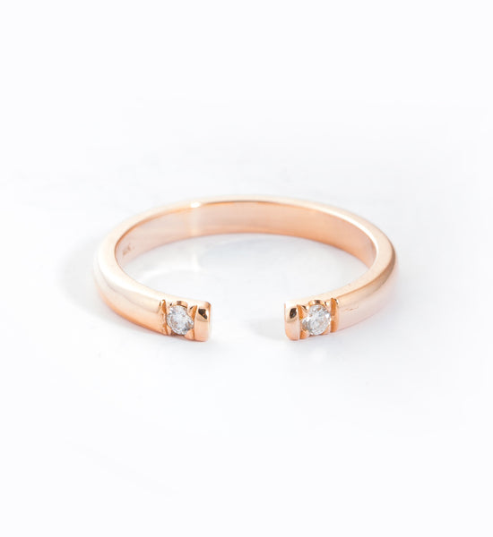 Rose Gold Half Round 2 Diamond Ring: Front
