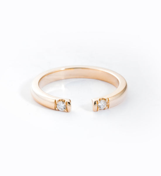 Gold Half Round 2 Diamond Ring: Front