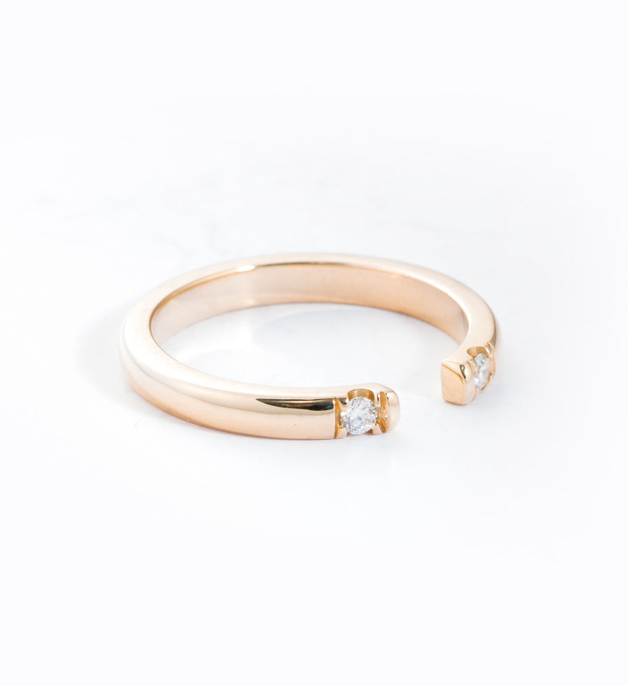 Gold Half Round 2 Diamond Ring: Angle