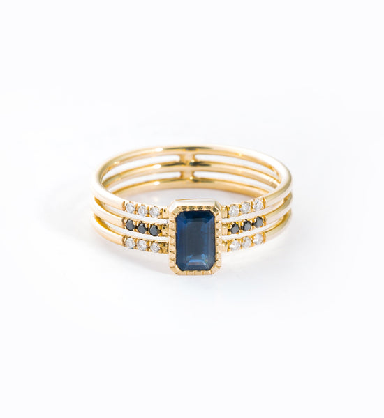 Sapphire Multi Band Ring: Front